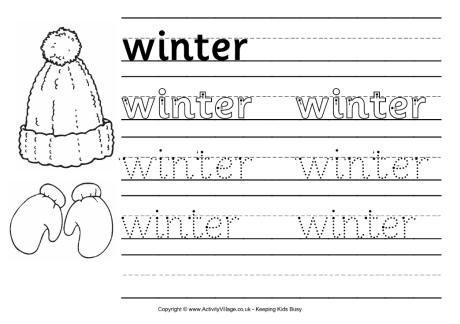 Winter Handwriting Worksheet 2