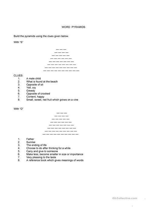 Word Pyramids Worksheet