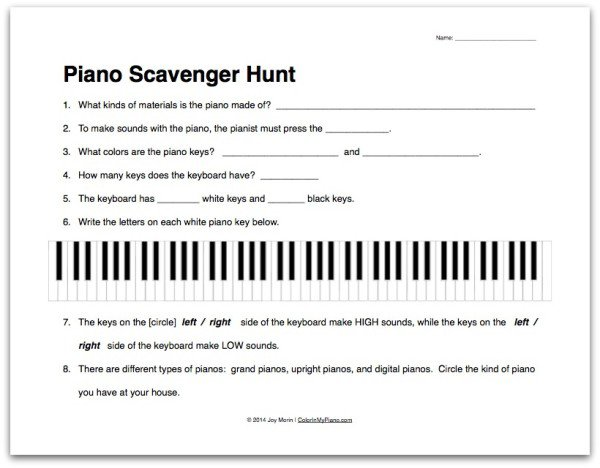 Worksheet  About The Piano Scavenger Hunt   Group Class Idea From