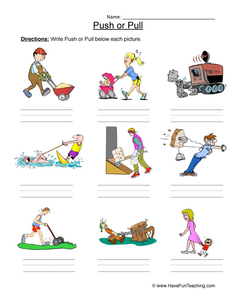 Worksheet How Does It Move Push And Pull Free Worksheets Samples Push And Pull