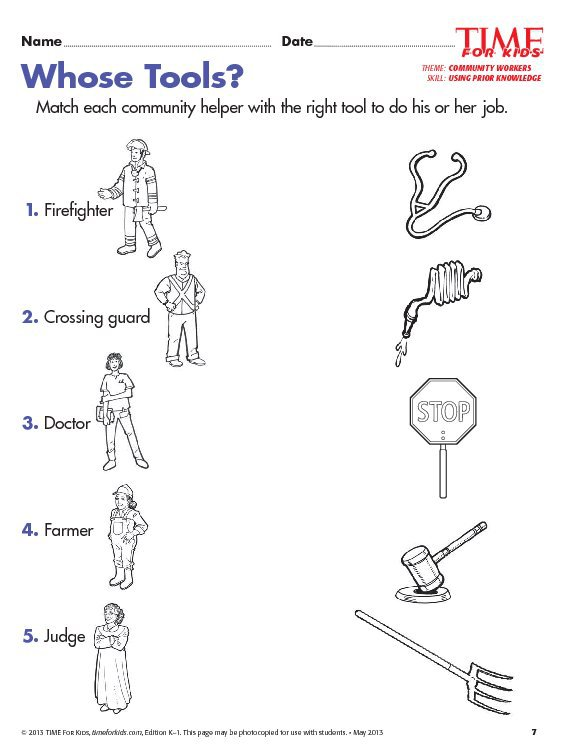 Worksheet On Community Helpers For Kindergarten Grade 1 Community