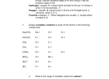 Worksheet Oxidation Numbers Answers