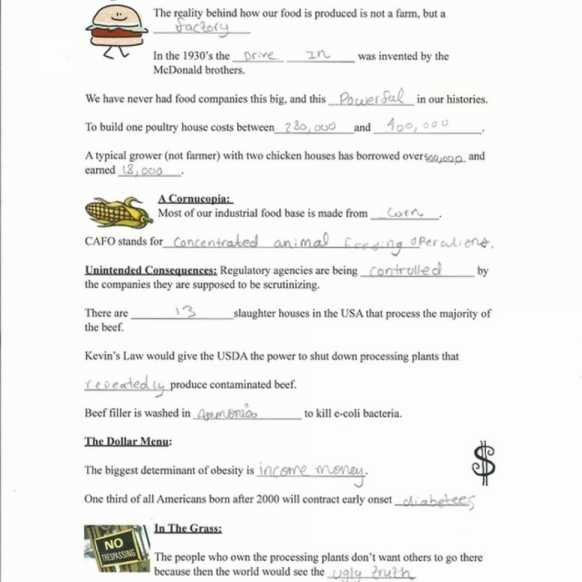 Worksheet Template   Worksheet   Food Inc Movie Sheet Answer Key