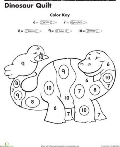 Worksheets  Dinosaur Color By Number   Preschool Items