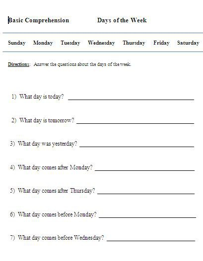 Worksheets For Days Of The Week In Spanish
