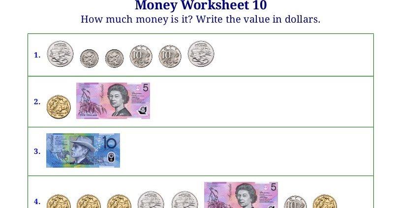 Worksheets Money Australian