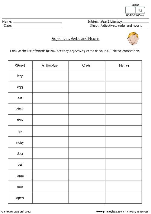 Worksheets On Identifying Nouns Verbs Adjectives And Adverbs