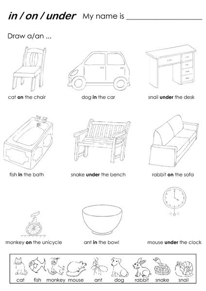 Worksheets Prepositions In On Under