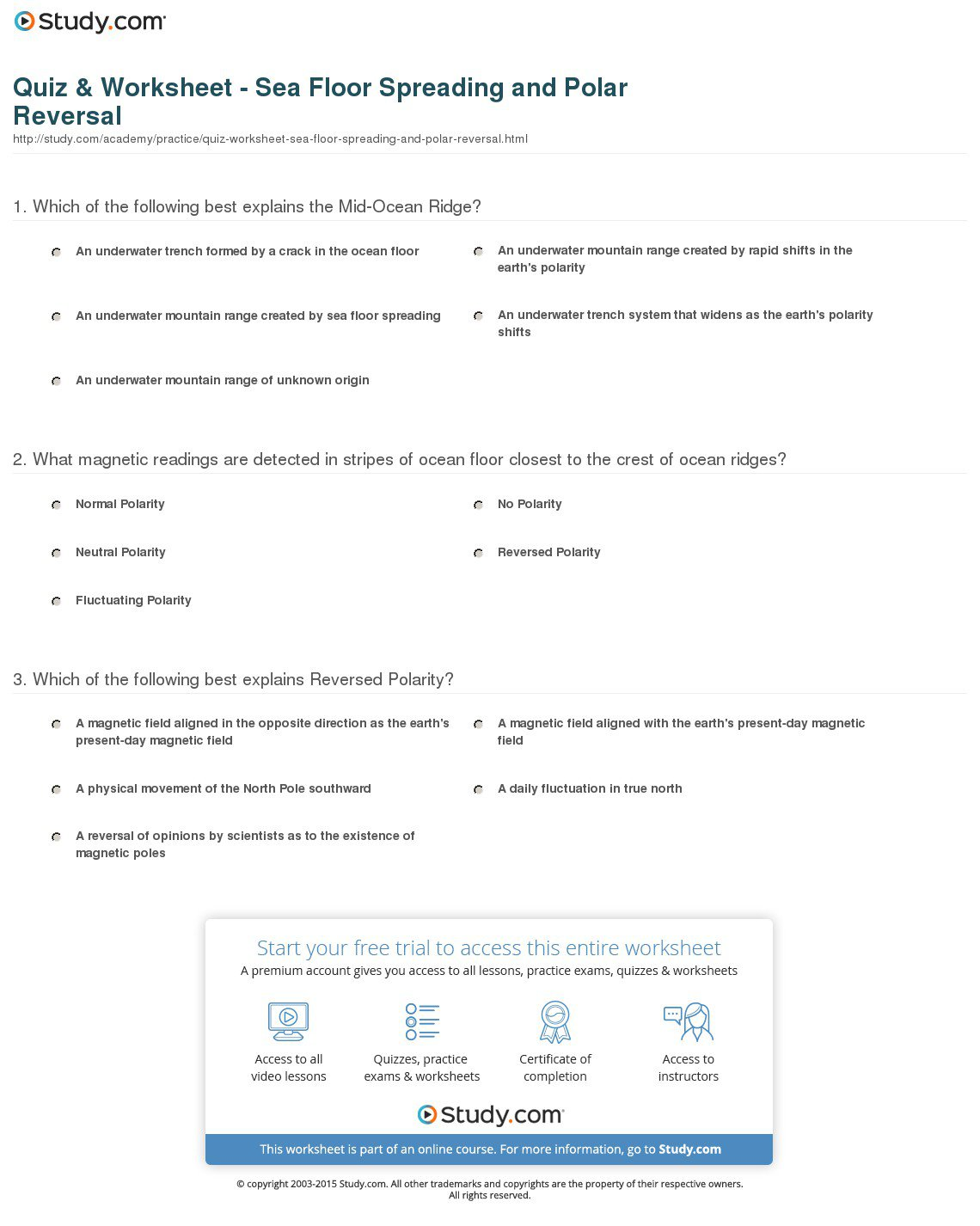 Worksheets Seafloor Spreading Worksheet Chicochino, The Study Of