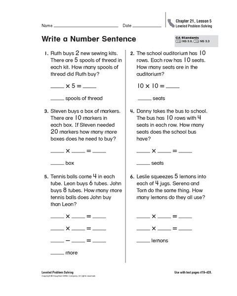 Writing Addition Number Sentences Worksheets Worksheets For All