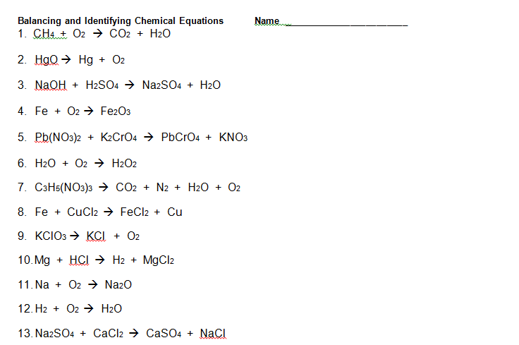 Writing And Balancing Chemical Reactions Worksheet Worksheets For