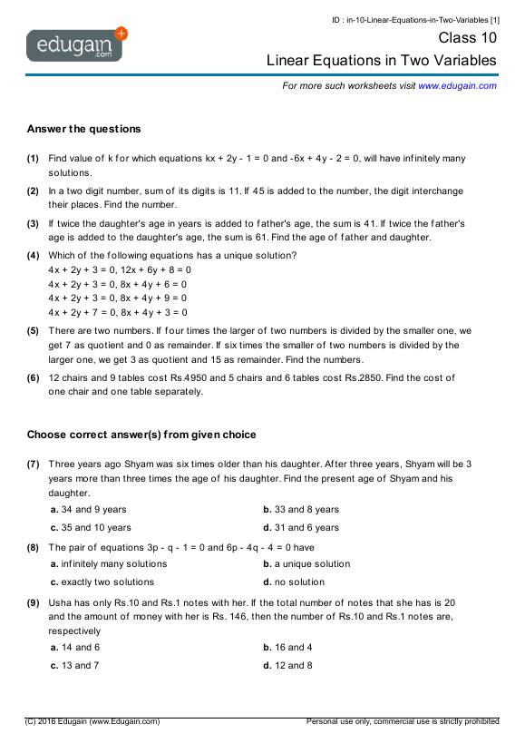 Year 10 Math Worksheets And Problems  Linear Equations In Two