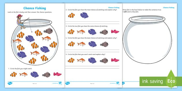 Year 1 Chance Fishing Worksheet   Activity Sheet