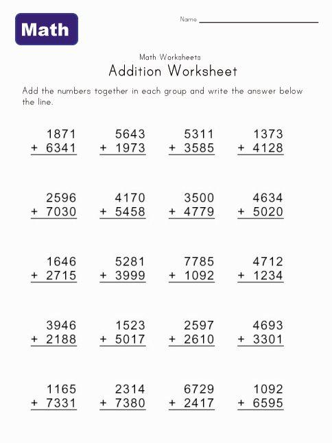 2,3,4 Digit Addition Worksheet 3 Digit, 4 Addend Addition