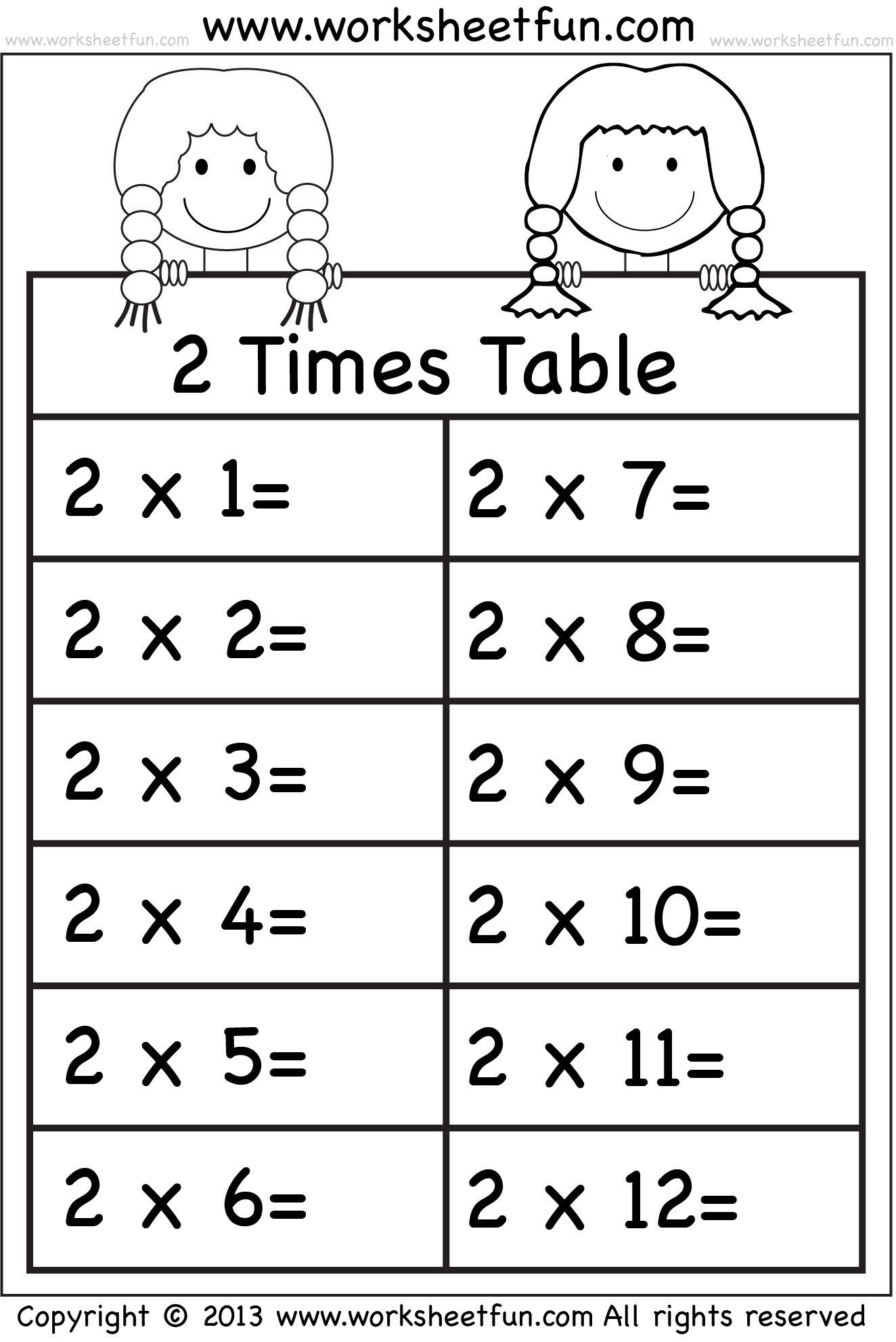 2x Table Worksheet Printable Multiplication Drill Sheets 2 Times