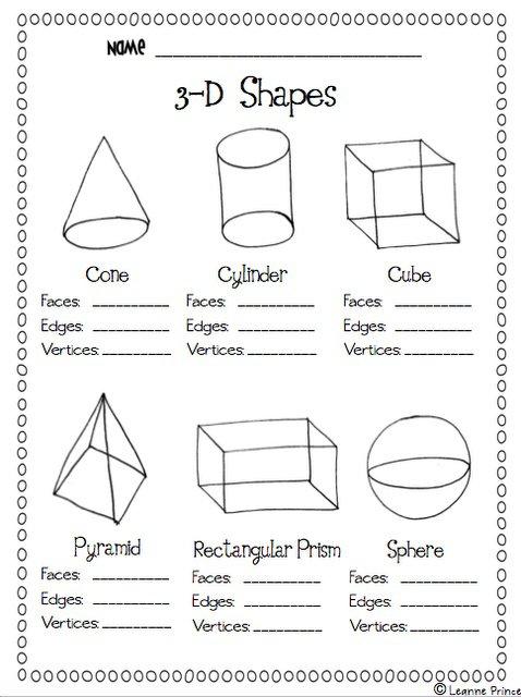 3 Dimensional Shapes Worksheets Worksheets For All
