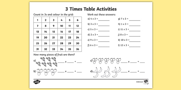 3 Times Table Worksheet   Activity Sheet