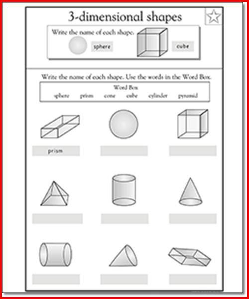 3d Shapes Worksheets 1st Grade Worksheets For All