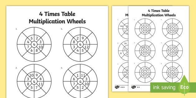 4 Times Table Multiplication Wheels Worksheet   Activity Sheet