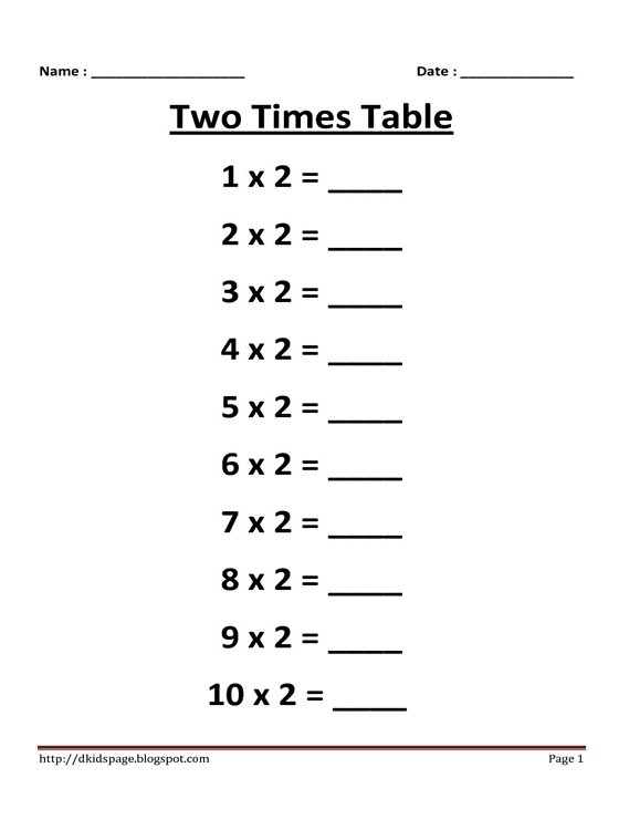 52 Table Of 2 For Kids, Math 4 Times Tables Worksheet 2 5 And 10