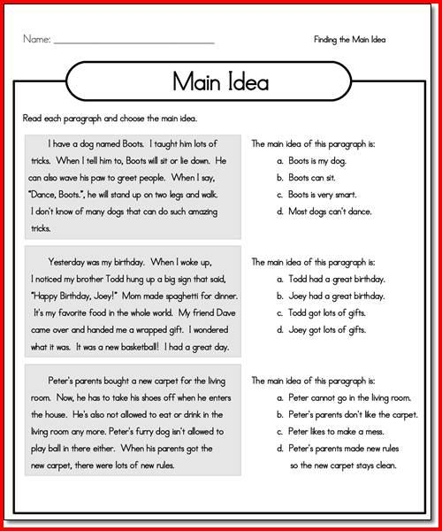 5th Grade Main Idea Worksheet Worksheets For All