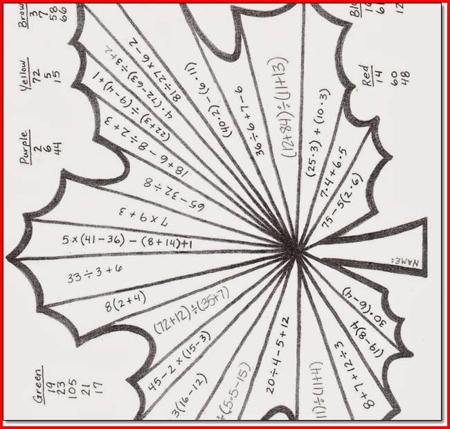 6th Grade Math Activity Worksheets