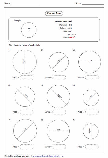 7th Grade Math Area Of A Circle Worksheets