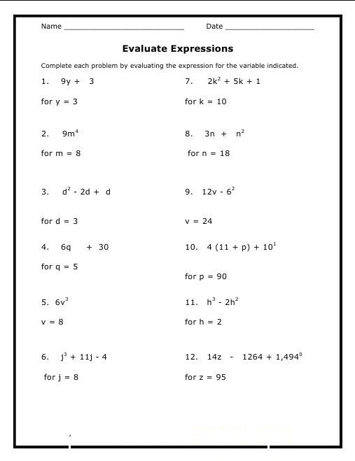 8th Grade Math Worksheet Printable Worksheets For All