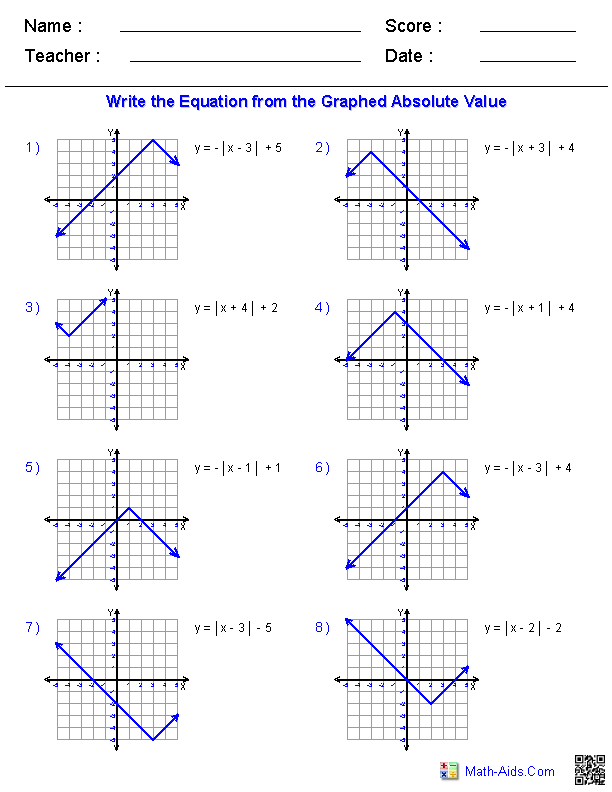 Absolute Value Functions Worksheet