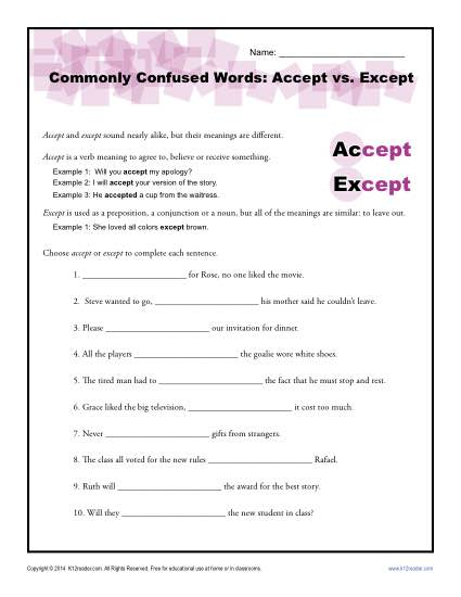 Accept Vs  Except Worksheet