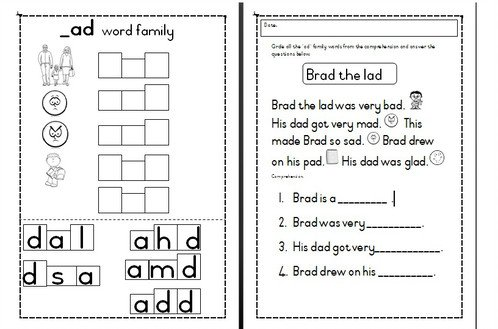 _ad Word Family Activities