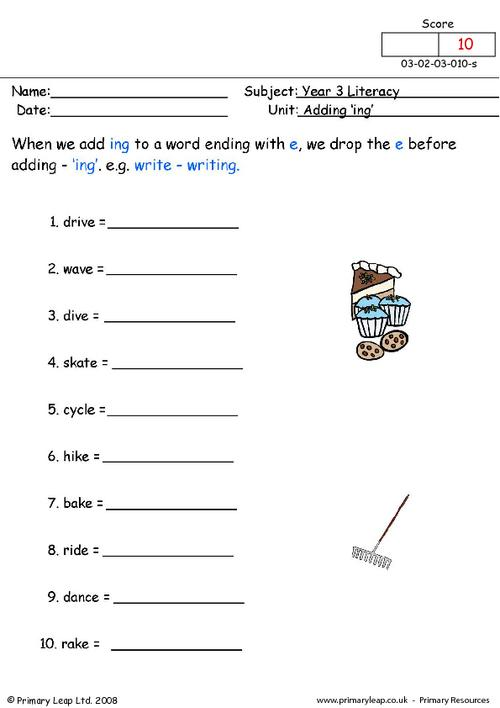 Adding Ing To Words Worksheets Worksheets For All