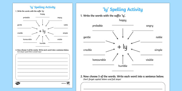 Adding 'ly' Spelling Activity