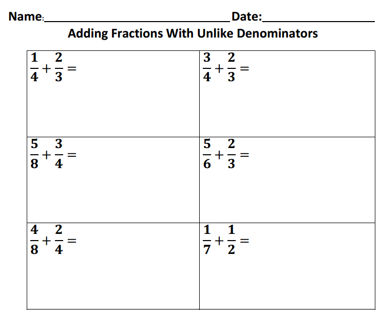 Adding Unlike Fractions Worksheets For All