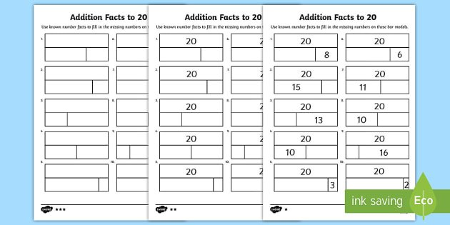 Addition Facts To 20 Worksheet   Activity Sheets