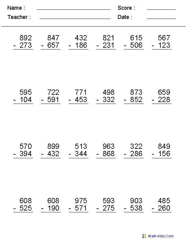 Addition Subtraction And Multiplication Worksheets For Grade 3