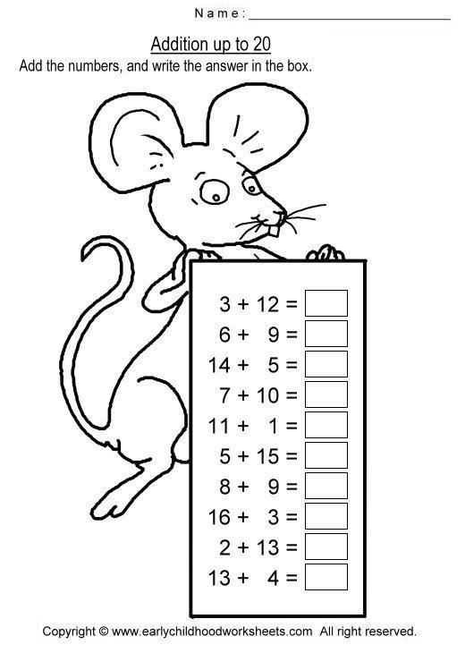 Addition To 20 Worksheet Worksheets For All