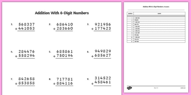 Addition With 6 Digit Numbers Worksheet   Activity Sheet
