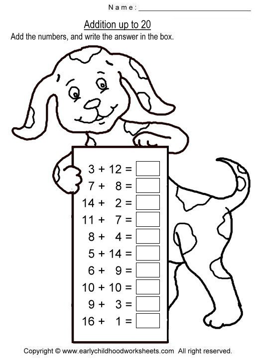 Addition Worksheets Within 20 Worksheets For All