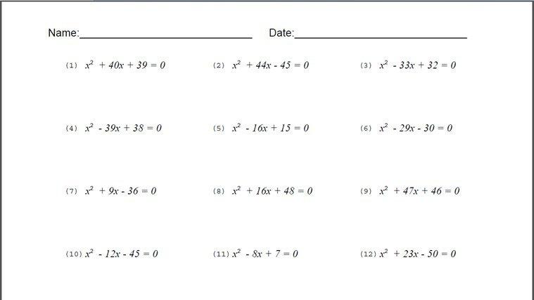 Algebraic Equations Worksheets 8th Grade