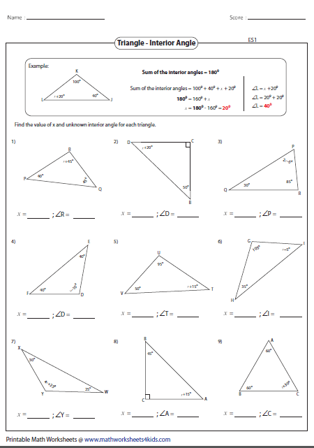 Angles In A Triangle Worksheet Answers Missing Interior Angles