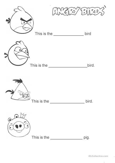 Angry Birds Worksheet