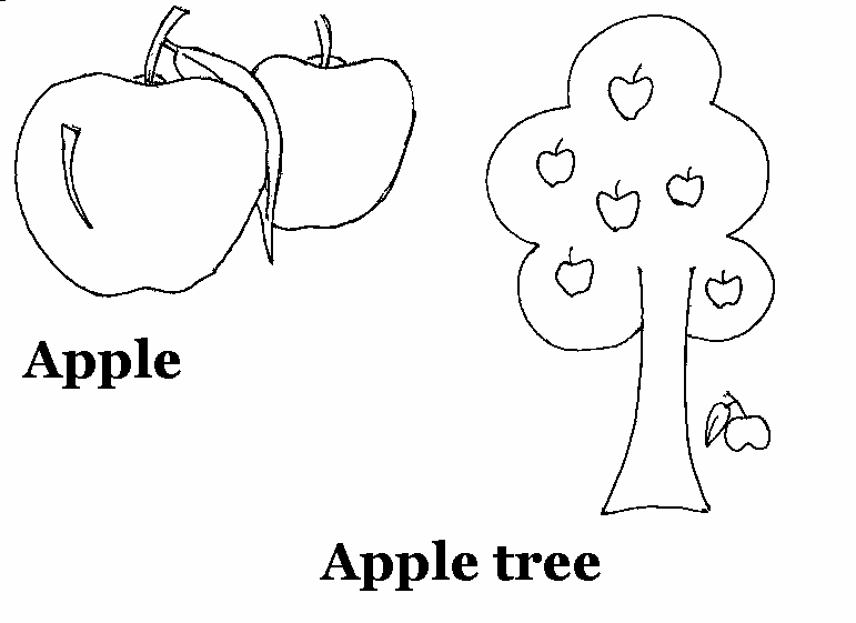 Apple Printable Coloring Worksheet For Kids