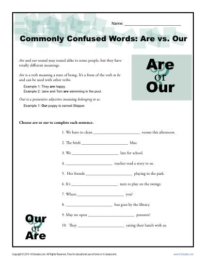 Are Vs  Our Worksheet