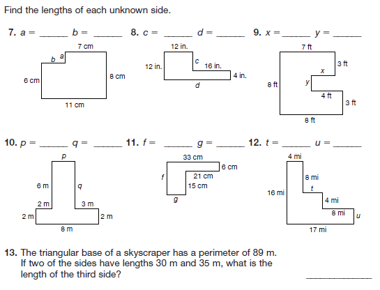 Area And Perimeter Worksheets Grade 7 Worksheets For All
