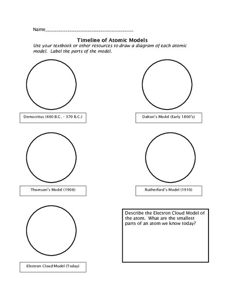 Atomic Models Worksheets