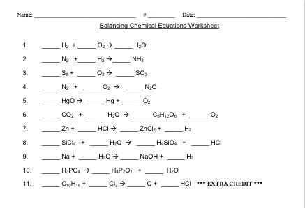 Balancing Chemical Equations Worksheet Middle School Worksheets