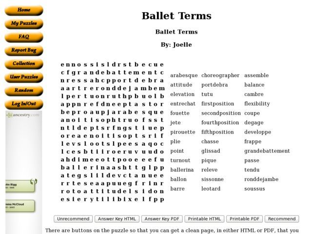 Ballet Terms Word Search 6th