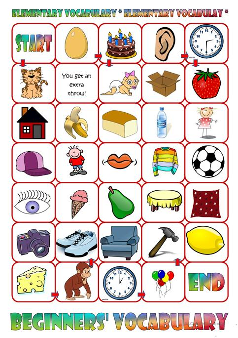 Basic Vocabulary Board Game Worksheet