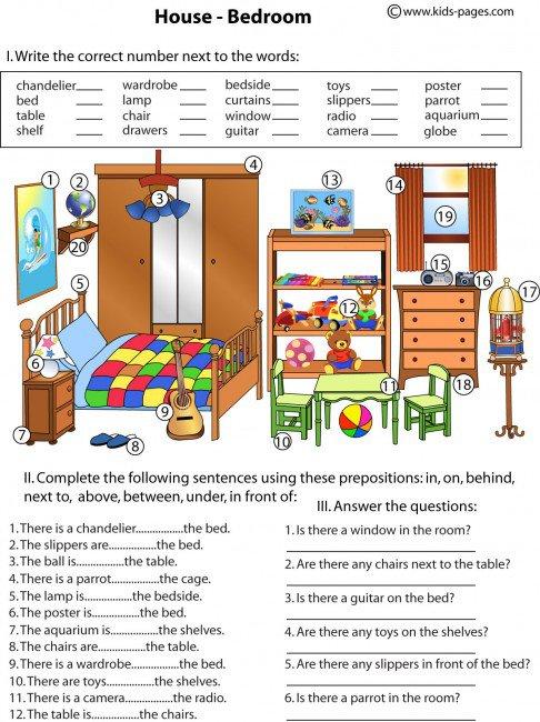 Bedroom And Prepositions Worksheet